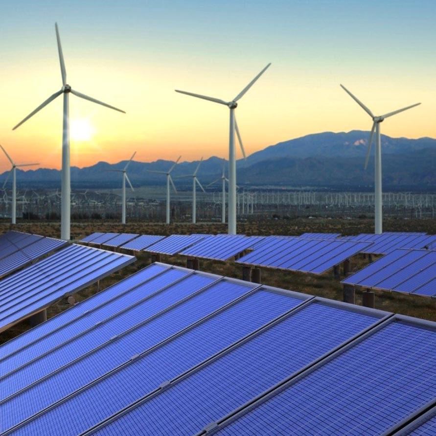 EN3 - Wind turbinesd and solar panels at sunset