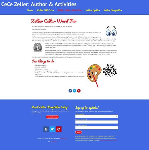 CeCe Zeller web page view